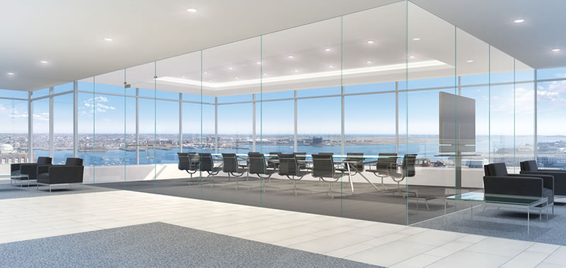 Open spaces near windows and gathering places save on lighting costs and energy, make for happier workers and increase the chance of serendipitous meetings. Photo courtesy of Boston Properties, Atlantic Wharf
